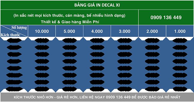 Bảng giá in decal xi