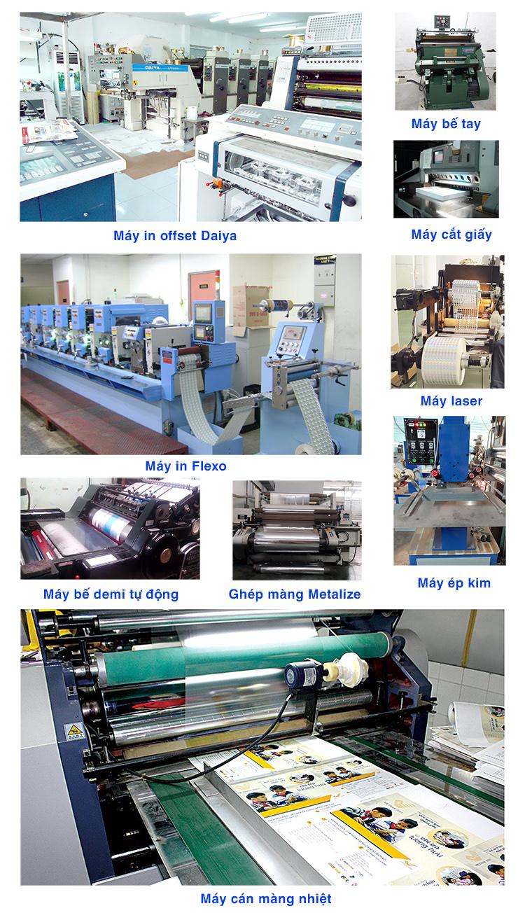 Trang thiết bị máy móc tại xưởng in Minh Hoàng